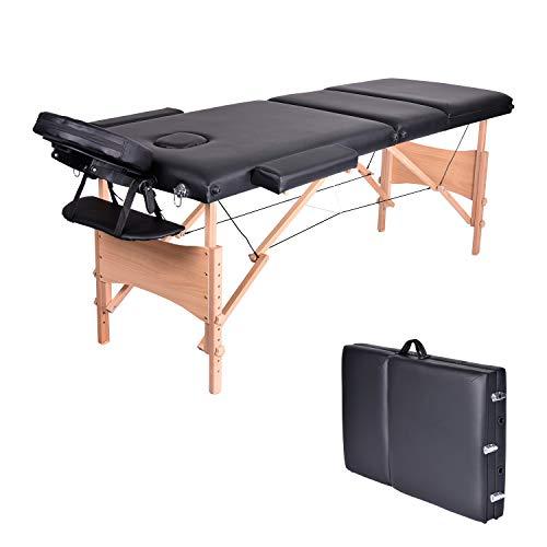 Wellhome lettino da massaggio 3 zone legno pieghevole portatile lettini massaggi professionale tavolo da massaggio tattoo fisioterapia con poggiatesta e bracciolo staccabile, borsa da trasporto xxl(nero)