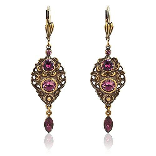 Jugendstil Ohrringe mit Kristallen von Swarovski Lila Antik Gold Amethyst NOBEL SCHMUCK