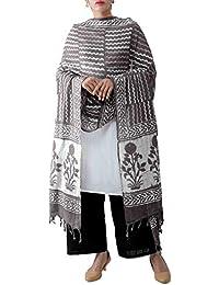 Unnati Silks Women Pure Dabu Printed Rajasthani Cotton Dupatta From The Weavers Of Rajasthan (UDS2018+Grey)