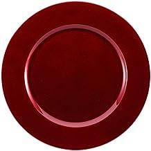 Brunchfill - Juego de 6 bajoplatos decorativos, diseño con borde ondulado, color rojo