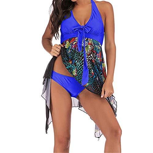 Damen Geteilter Badeanzug Bikini Set Frauen Plus Size Schmetterling Drucke Neckholder Backless Skinny Swimdress Tankini Badeanzug 2-Piece Slim Badeanzug Bademode S-5XL Bikini Oberteil Bottom Sport Zwe