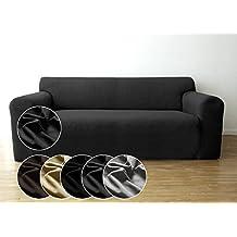 Funda de sofá Bellboni, forro de sofá, funda ajustable bielástica, apta para muchos sofás normales de 2 plazas, antracita