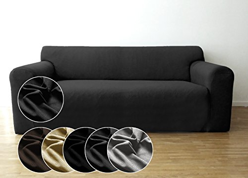 Bellboni Couchhusse, Sofabezug, bi-elastische Stretchhusse, Spannbezug für viele gängige 2er Sofas, anthrazit