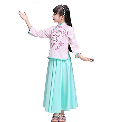 Wgwioo Mädchen Cheongsam Chinesische Stickerei Kleid Kinder Tanz Kostüme Klassische Kinder Bühne Aufführungen Studenten Chor Gruppe Team, Pink, 140Cm