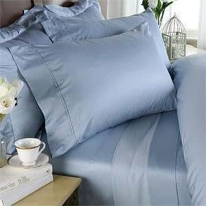 500–fils 15 cm-Poche profonde 3 Pièces Drap-housse Double Bleu ciel-Royaume-Uni - 100%  coton égyptien