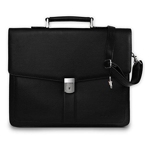 Bag Street Aktentasche Herren schwarz Kunstleder-Aktentasche Aktenkoffer Bürotasche mit Fee-Anhänger von SilberDream OTJ117S (Schwarze Leder Aktentasche)