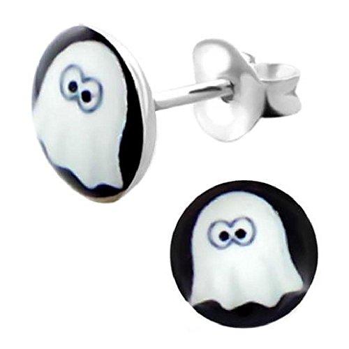 rringe Runde Pastille Muster Halloween Ghost Weißer Hintergrund Schwarz Sterling Silber 925 (Halloween-herbst-hintergründe)