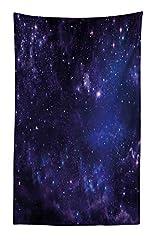 Idea Regalo - ABAKUHAUS Galassia Tapetto da Parete e Copriletto, Le Stelle Celestiali nel Cielo Notturno Polvere di Stelle nella Nuvola Magico, Lavabile e Senza Colori sbiaditi, 140 x 230 cm, Multicolore