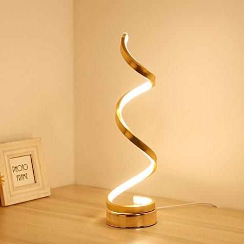 LEDMOMO LED Spirale Tischlampe moderne minimalistische Acryl Tischlampe gebogen Nachtlicht Nachttischlampe für Heimtextilien Wohnzimmer Büro Kinder warmweiß mit europäischen Stecker (Gold) -