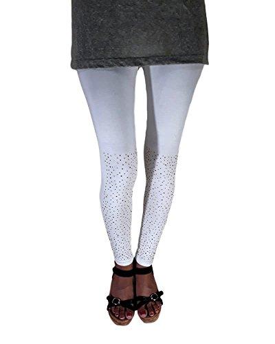 N&S Women's Slim Fit Leggings (NSLG-0014_White_Free Size)