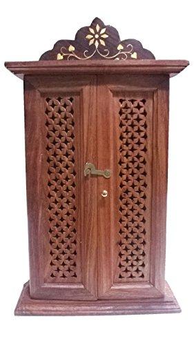 Stylla London fabriqué à la Main à clés avec Porte Double et Jali Travail de Conception, Bois, Marron, 11.5 x 6.9 x 2.8 cm