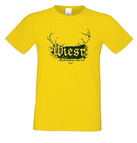 Wiesn - Herren T-Shirt - Oktoberfest-Motiv Hirsch-Geweih Wild Volksfest Trachtenshirt Tolles Geschenk für Männer Farbe: gelb Gelb