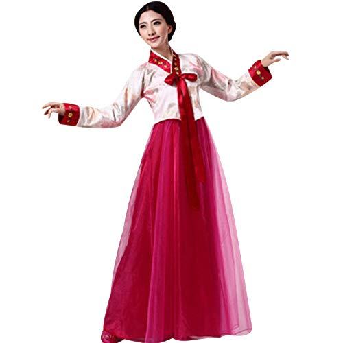 9773f71f6a XFentech Femme Corée Traditionnel Hanbok Ensemble - Ladies Manches Longues  Broderie Dress, Blanc-Vin Rouge, Buste-85