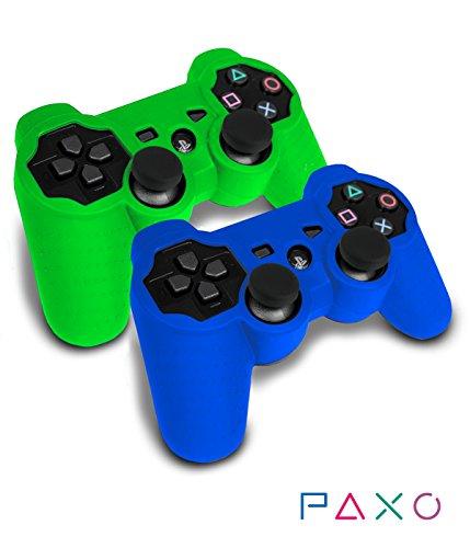 2 x PAXO PS3 Silikon-Schutz-Hülle/Sleeve Bundle Blau-Grün
