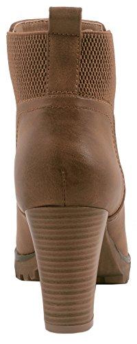 Elara Ankle Boots | Trendige Damen Stiefeletten | Blockabsatz Plateau | Chunkyrayan Khaki 38 - 4