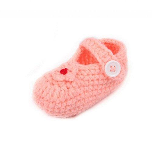Smile YKK Gestrickte Baby Schuhe Krabbelschuhe flauschige Länge 11 cm Sonnenblume Pink Orangerot T