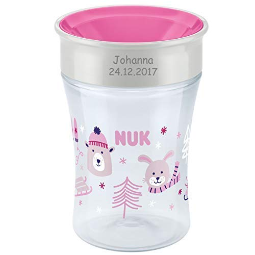 NUK Magic Cup Winteredition, Trinklernbecher mit persönlicher Gravur, 230ml (pink)
