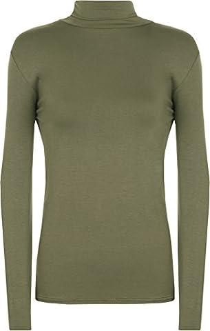 WearAll - Pull à manches longues et à col roulé - Hauts - Femmes - Kaki - 40-42