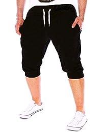OHQ Shorts DéContractéS pour Hommes De Couleur Unie ÉTé Gym Workout Jogging  Pantalon Fit ÉLastique Casual c0b72a549d7
