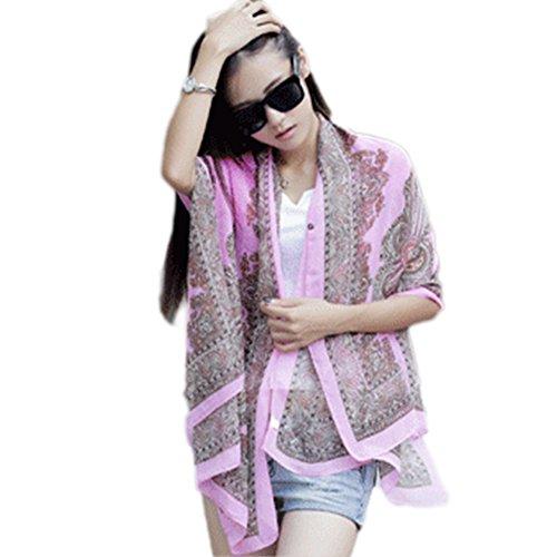 BienBien Bluse e Camicie Poncho e Mantelle Estivo Maglietta in Chiffon Manica Pipistrello Sciarpe Etnico Caftano Donna Mare Pink