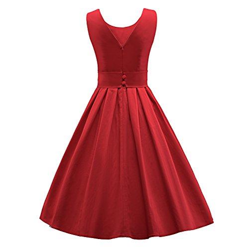 ILover Frauen 50s 60s Zurück V-Ausschnitt-Kreis Vintage-Rockabilly Swing-Party-Tanz-Kleid V034-rot