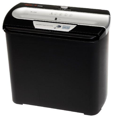 Genie 255 CD Aktenvernichter, bis zu 7 Blatt, Streifenschnitt (Sicherheitsstufe P-1), mit CD-Shredder, inkl. Papierkorb, schwarz/silber