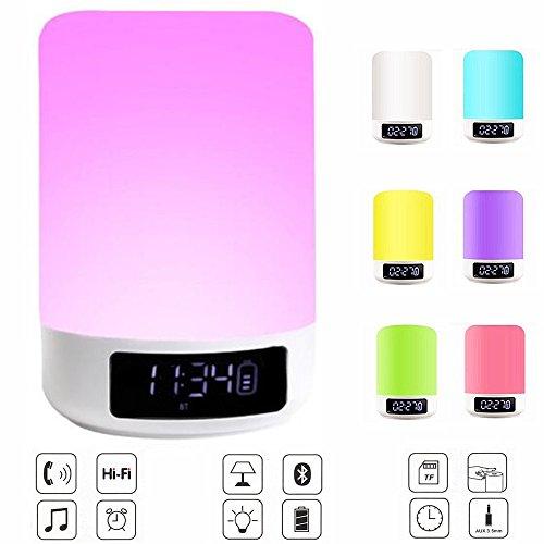 Nachttischlampe mit Bluetooth Lautsprecher - Elecstars LED Nachtbeleuchtung mit Uhr und Dimmable Touch Sensor / 7 warme entspannende LED Farben für besseren Schlaf / Ideal für Kinder Babys Wohnzimmer und Schlafzimmer Tisch / tragbar leicht und einfach zu bedienen (weiß)