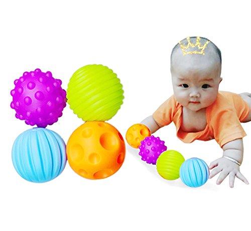Leisial 4Pcs Kinder Vorschul Spielzeug Den Ball Naturkautschuk Sensorischen Baby Softbälle Spielzeug Ball in 4 Farbe für Kinder und Baby ab 3 Jahre,7CM