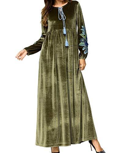Andopa Damen muslim islamischen premium-velour gestickte kaftan maxikleid XL Armeegrün -