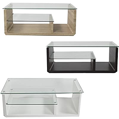 Charles Jacobs Glass Rectangle Contemporary Multi-level Luxury High-end Modern Lounge Coffee Table with Storage - cheap UK light shop.