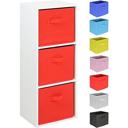 Hartleys Regal mit 3 Fächern in Weiß – Schubkästen in verschiedenen Farben