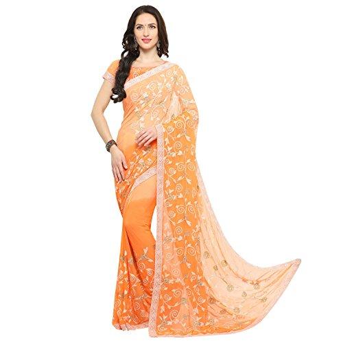 EthnicJunction Applique Lucknow Chikankari Chiffon Saree(EJ1168-7007,Orange)