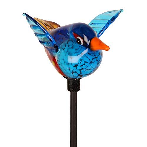 Stecker Vogel, blau, Glas, Vogel: H5 B6 T9 cm, Stab: 31 cm -