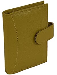 Genuine Soft Leather Credit Card Holder Wallet - 20 Clear Plastic Pockets - 4 Further Card Slots- Lime Green Card...