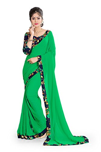 OOMPH! Saree with Blouse Piece (rbaf_1386_Parakeet Green_Free Size)