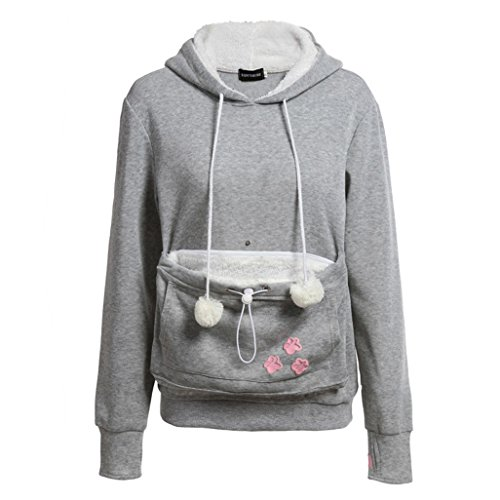 Damen Hoodies Sweatshirt Kapuzenpullover Hoody Pullover Langarm Oberteile Winter Herbst mit Katze / Hund Tasche Hoodie Tops Grau XL Meedot Xl Hund Sweatshirts