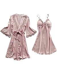 99native@ Femme Chic Peignoir Soie Dentelle Robes Robe Nuisette Chemise Vêtements De Pyjama Kimono Chemise de Nuit Sexy en Dentelle + Robes de Cardigan Ensemble 2pcs