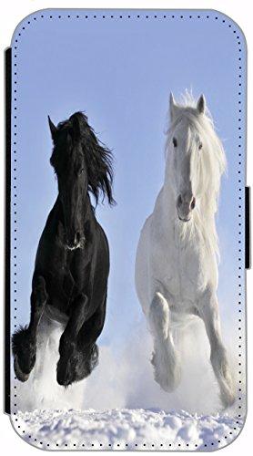 FioMi Flip Cover Hülle Samsung Galaxy S7 Edge SM-G935F Motiv 509 Pferd Pferde Schwarz Weiß im Schnee Handy Tasche Etui Schutzhülle Flipcover Case Wallet Bookflip Buchflip (509)