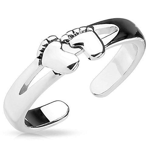Bungsa Babyfüsse Zehenring Nachwuchs Damen Silber Brass (Zehring Fussschmuck Fussring Toe-Ring Nail Ring Nagelring biegbar Verstellbar)