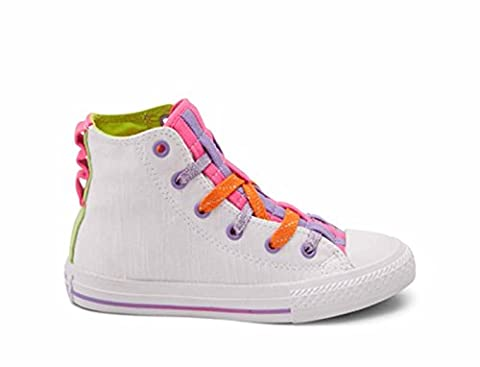 Converse Mädchen Girl Sneaker Chuck Taylor All Star Hi Top weiß white *** Loopholes Jersey White/Bold/Lime *** 654239C (36)