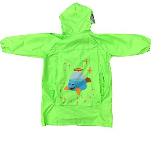 Und Frauen Big Hat Regenmantel, Grundschule Kindergarten Baby Bag Poncho, Mehrweg-Regenmantel, Outdoor-Sport-Regenmantel (Farbe : Grün, größe : XL) ()