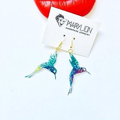 Boucles d'oreilles pour oiseaux - Boucles d'oreille colibri - Bijoux pour oiseaux - Cadeaux pour femmes - Boucles d'oreilles oiseaux - Cadeaux pour elle - Bijoux à la mode - Boucles d'oreilles à la mode