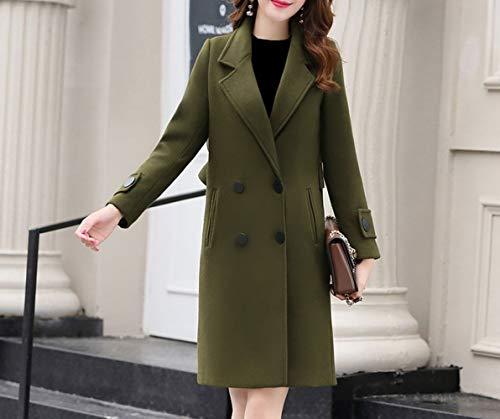 Xqy cappotto di lana, cappotto di lana, cappotto di lana invernale, cappotto femminile lungo a doppio petto di lana,army green,m
