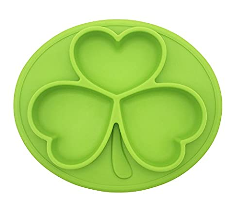Silicone Placemat Bowl, No Spill, Strong Suction, Non-Skid Food Grade Silicone, BPA Free and FDA Approved, Great for Infants, Toddlers, Kids and Small Pets (Green)