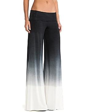 SYGoodBUY Pantalones de Mujer Maxi Long Elastic Waist Pierna Ancha Fluid Pants Elephant Fluid Color Evolutive...