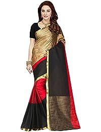 Ishin Poly Cotton Red & Golden With Golden Zari Border Woven Party Wear Wedding Wear Casual Wear Festive Wear...