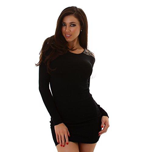ENZORIA Damen Strickkleid, kurzes Kleid mit lnagen Ärmeln ...
