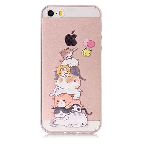 Per iPhone 5 / 5S / SE Cover , YIGA arcobaleno unicorno Trasparente Silicone Morbido TPU Case Shell Protezione Custodia per Apple iPhone 5 / 5S / SE XY15