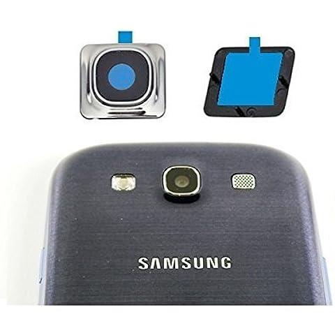 Set de 3 piezas MMOBIEL: vidrio protector para cámara Samsung Galaxy S3 I9300 I9305.Incluye: Vidrio con borde metálico plateado, goma que rodea el lente, adhesivo 3M y