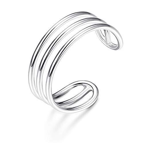 Sllaiss Damen Ring 925 Sterling Silber minimalistisch Horizontal Doppel-Linien einfaches Band für Frauen Verstellbare offene Zehenring Knöchelringe Größe 5-8 (Doppel-band Silber Ring)